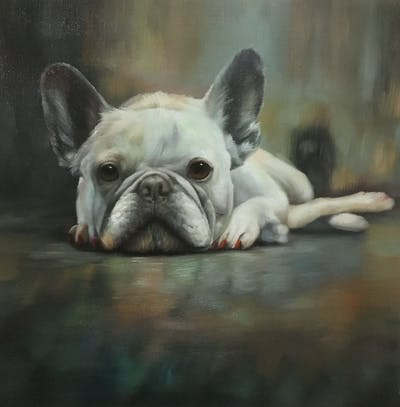 A painting of dog, dog like mammal, black, mammal, dog breed, vertebrate, nose, black and white, snout, snapshot