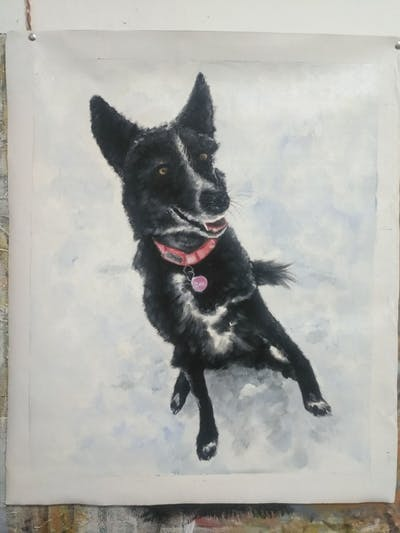 A painting of dog, dog like mammal, dog breed, dog breed group, snow, winter, snout, karelian bear dog, sporting group