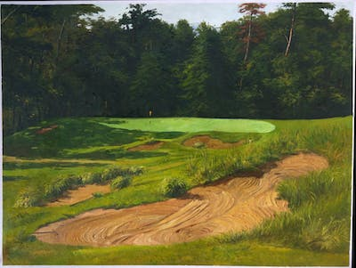 A painting of grass, grassland, golf course, field, golf club, pasture, landscape, tree, rural area, hill