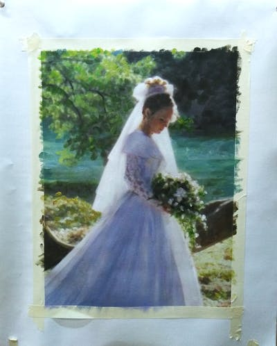 A painting of gown, wedding dress, bride, dress, bridal clothing, lady, bridal accessory, shoulder, veil, girl