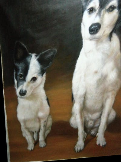 A painting of dog, dog breed, dog like mammal, dog breed group, miniature fox terrier, carnivoran, tenterfield terrier, snout, rat terrier, toy fox terrier