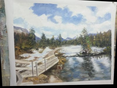 A painting of wilderness, lake, water, mountain, sky, reflection, winter, tree, snow, cloud