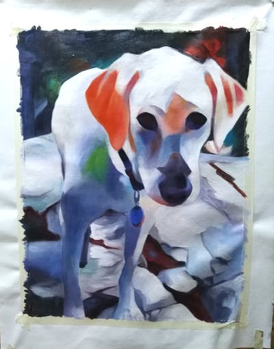 A painting of dog, dog breed, labrador retriever, dog like mammal, retriever, snout, sporting group, carnivoran