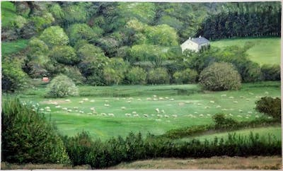A painting of grassland, pasture, nature reserve, ecosystem, vegetation, field, rural area, farm, meadow, hill station