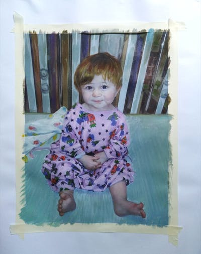 A painting of child, toddler, human hair color, product, infant, textile, outerwear, girl, pattern, iris