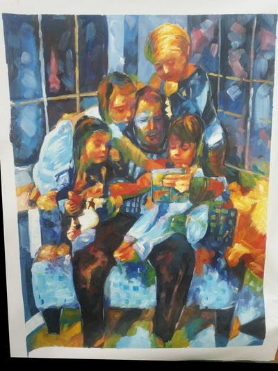 A painting of people, day, sitting, child, human body, fun, toddler, girl, family, grandparent