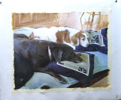 A painting of dog, dog breed, dog breed group, snout, dog like mammal, dog crossbreeds, sporting group, flooring, dog bed