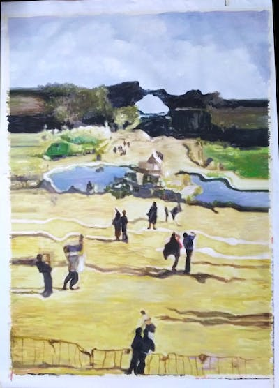 A painting of yellow, sand, landscape, painting, art, tourism
