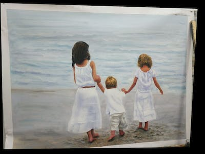 A painting of white, people, girl, child, fun, standing, water, vacation, dress, summer