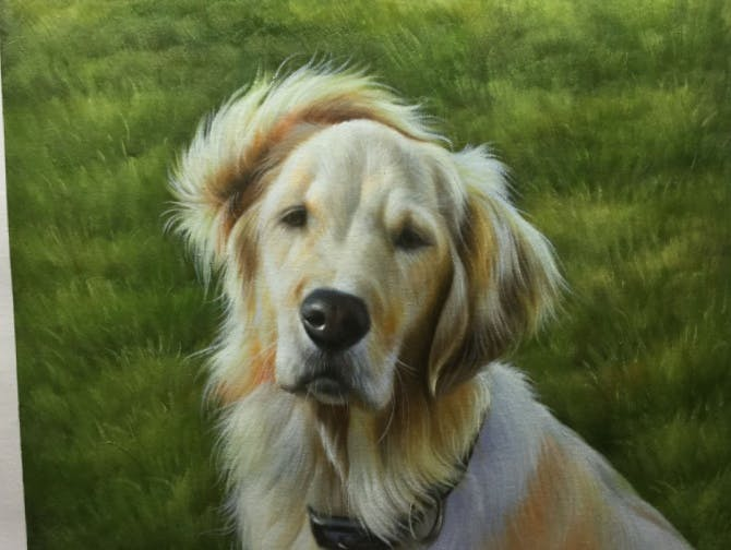 Oil painting of a dog done by Instapainting