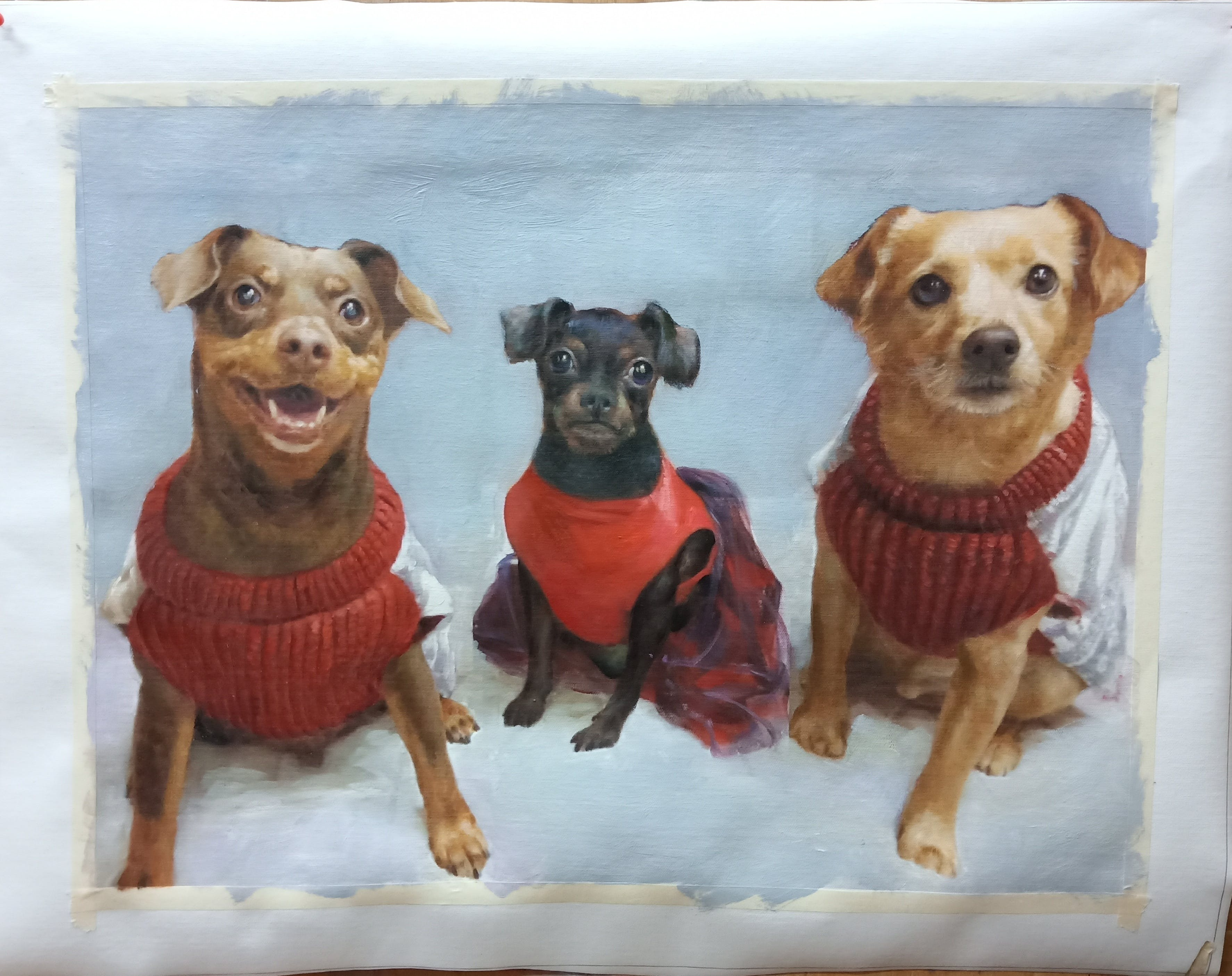 a painted portrait of 3 dogs wearing sweaters