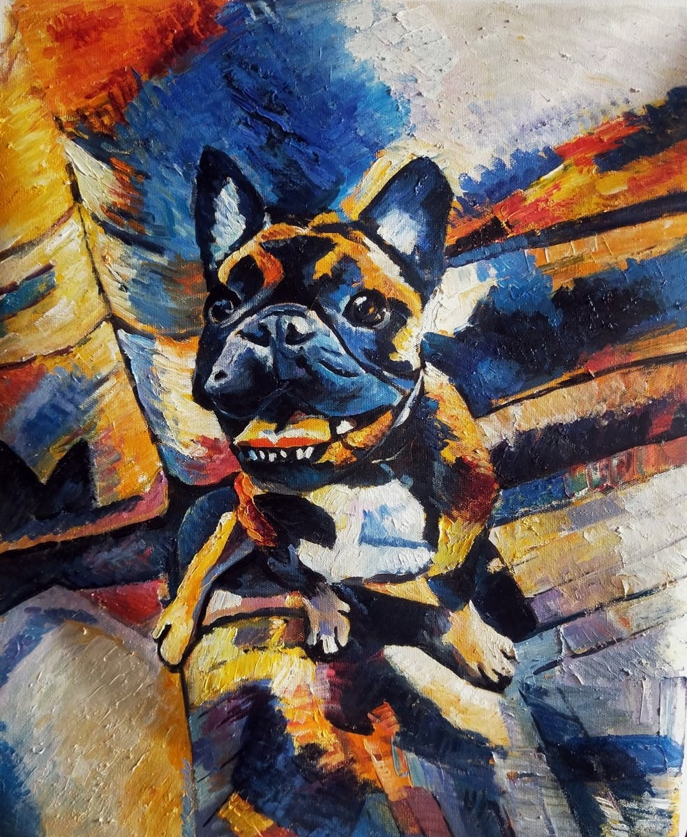 Abstract pet portrait of a french bulldog